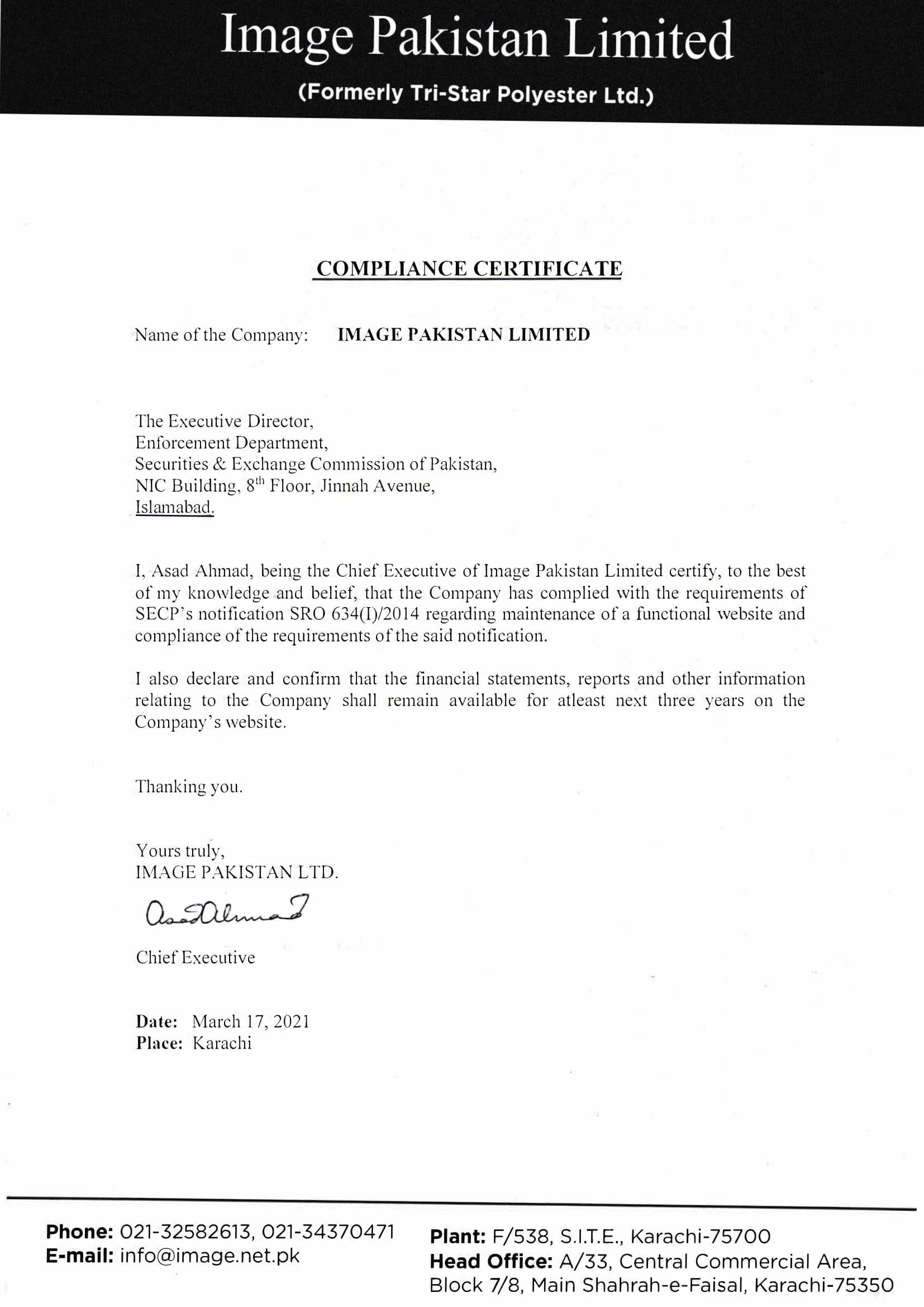 Compliance Certificate 2021